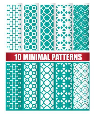 Minimal green oriental pattern vector set Illustration