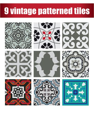 9 Set vintage tiles patterns antique seamless design in Vector illustration