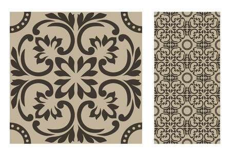 vintage tiles patterns design template Vector illustration