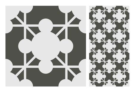 vintage tiles patterns antique seamless design in Vector illustration