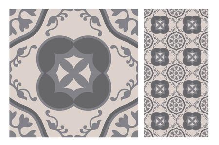 vintage tiles patterns antique seamless design in Vector illustration Zdjęcie Seryjne - 97131487