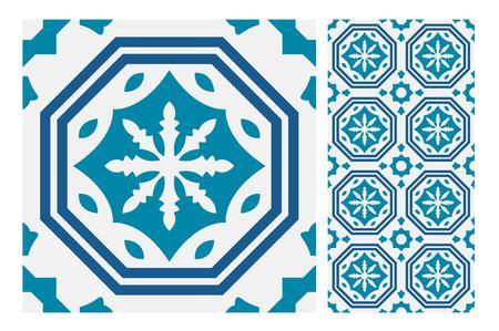 Vintage tile seamless pattern design  illustration Illustration