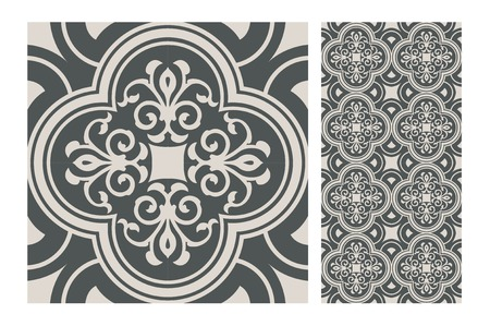 Vintage tile seamless pattern design  illustration Ilustracja
