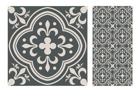 Muster-Designillustration der Weinlesefliese nahtlose