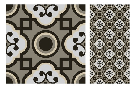 Vintage tile seamless pattern design  illustration Çizim