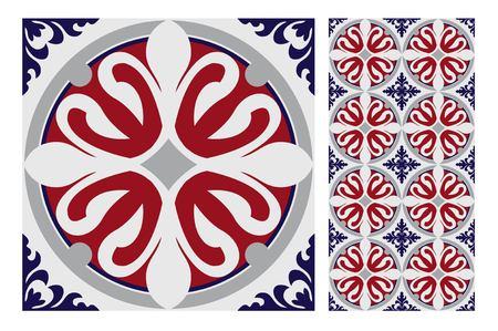 vintage tiles patterns antique seamless design in Vector illustration Zdjęcie Seryjne - 97419242