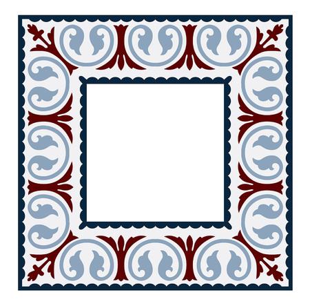 vintage tiles frame patterns antique seamless design in Vector illustration Çizim