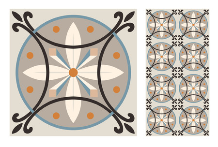 vintage tiles patterns antique seamless design in Vector illustration