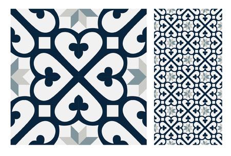 Vintage tiles patterns antique seamless ornamental design in Vector illustration Vettoriali