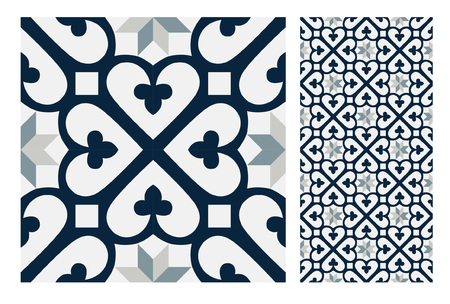 Vintage tiles patterns antique seamless ornamental design in Vector illustration 矢量图像