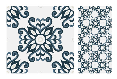 vintage tiles patterns seamless design Vector illustration