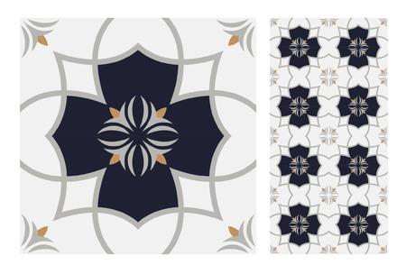 vintage tiles patterns antique seamless design in Vector illustration Zdjęcie Seryjne - 97688638