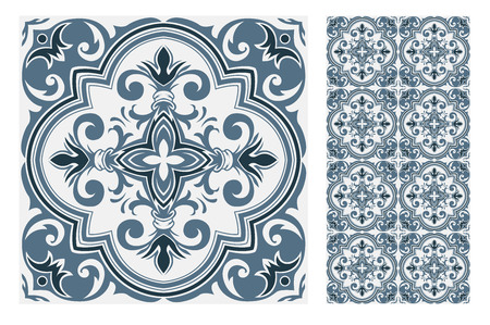 vintage tiles Portuguese patterns antique seamless design in Vector illustration Ilustración de vector