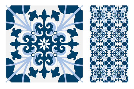 vintage tiles Portuguese patterns antique seamless design in Vector illustration