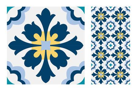 Carreaux de motifs portugais conception sans couture antique en illustration vectorielle vintage