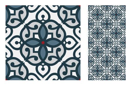 Azulejos patrones portugueses antiguo diseño sin costuras en ilustración vectorial vintage