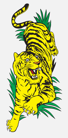 yellow tiger on tattoo design