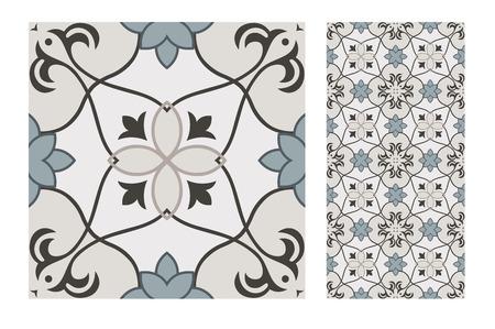 Azulejos portugueses patrones antiguos de diseño sin costuras en la ilustración vectorial