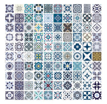 tiles Portuguese patterns antique seamless design in Vector illustration