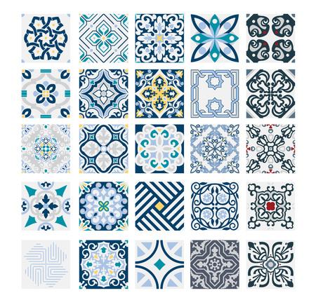 Fliesen portugiesische Muster antike nahtlose Design in Vektor-Illustration Vintage