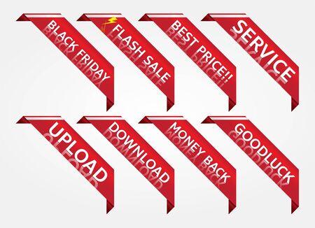 red banner promotion tag design for marketing Stock Illustratie