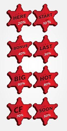 red banner promotion tag design for marketing Illustration