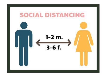 Social distancing Keep distance sign Coronovirus Vector illustration.