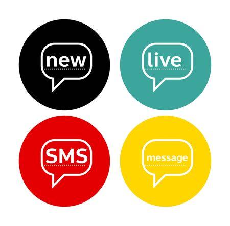 News sms live message word and speech bubble Illusztráció