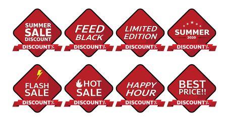 red banner promotion tag design for marketing Illusztráció