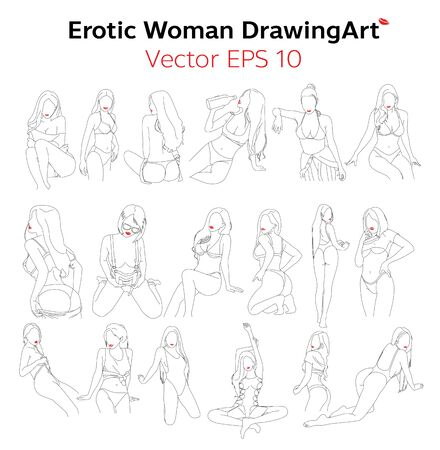 Erotic WomanBody. Nude Line DrawingArt Design. Vector Illusztráció