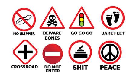 Set of traffic sign on white Illusztráció