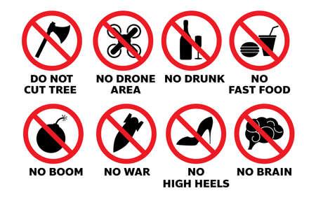 set of sign information symbol no drone no food no war
