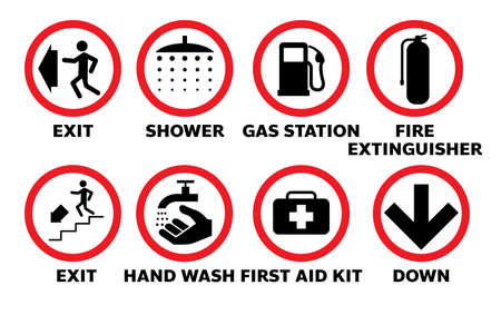 set of sign information symbol of exit gas station in vector eps10 Illusztráció