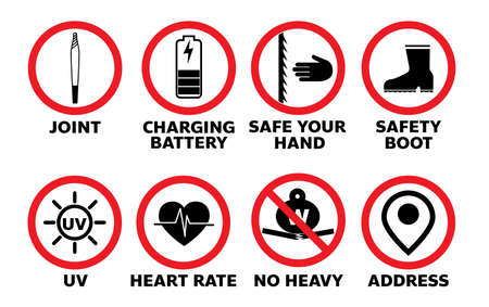 set of sign information symbol jonit safety in vector eps10 Illusztráció