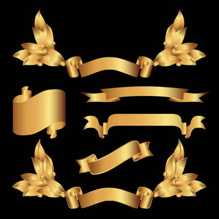 Various kind of gold banner Vector