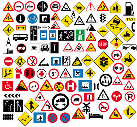 motorway: Various type of road signage