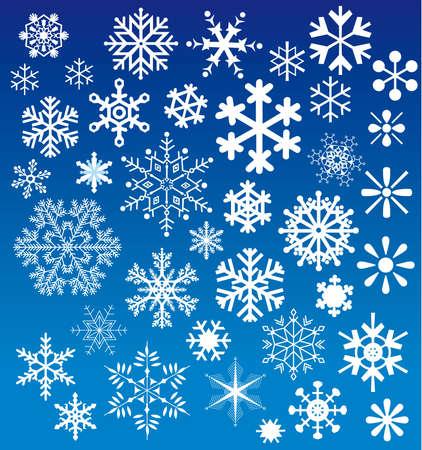 snow flakes: Vlokken sneeuw keuzes Stock Illustratie