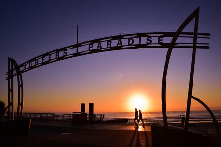 surfers: Surfers Paradise landmark at sunrise time