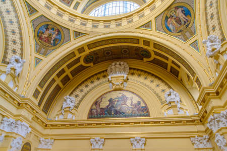 Interior of Széchenyi Thermal Bath in Budapest, Hungary, the largest medicinal bath in Europe
