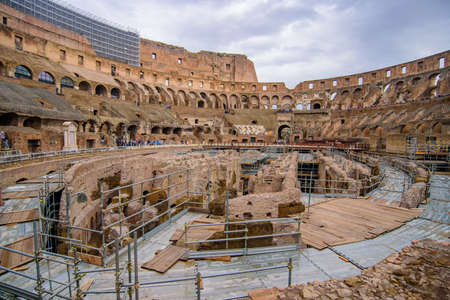 Interior of Colosseum, an oval amphitheatre and the most popular tourist attraction in Rome, Italy 報道画像