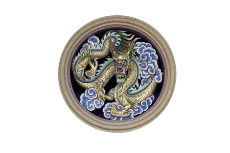 chinese temple: chinese dragon in circle