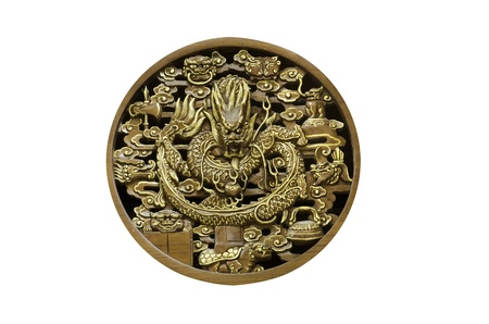 wood circle chinese dragon in joss house photo