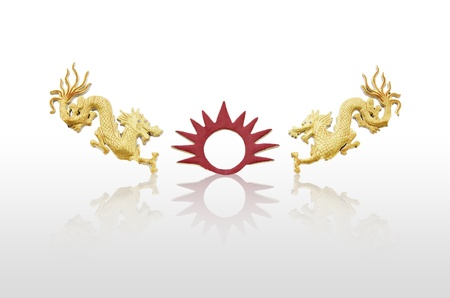 double chinese dragon photo