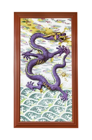 chinese dragon on wall in joss house photo