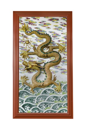 godliness: chinese dragon on wall in joss house