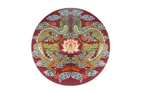 chinese dragon on circle wood door photo