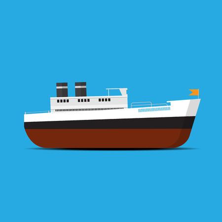 steamship: steamship vector flat sign. Illustration