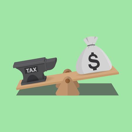 Equilibrio dei soldi con TAX sulle bilance