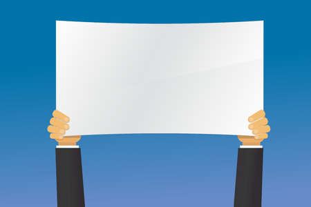 hand holding paper: hand holding the paper sign. Illustration