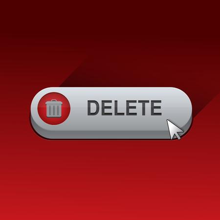 vector delete button with cursor